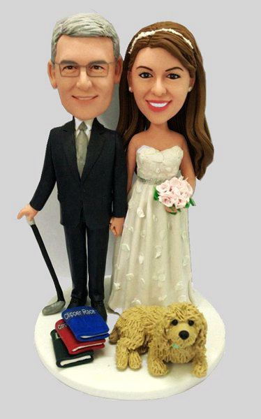 Custom Personalized Wedding Bobbleheads For Cake Topper(with pet)